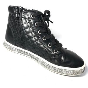 Justice Sneakers 4 Quilted High Top Glitter Trim